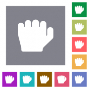 Left handed grab gesture flat icons on simple color square backgrounds - Left handed grab gesture square flat icons