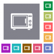 Microwave oven flat icons on simple color square backgrounds - Microwave oven square flat icons - Large thumbnail