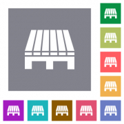 Single pallet flat icons on simple color square backgrounds - Single pallet square flat icons - Large thumbnail