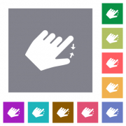 Left handed pinch close gesture flat icons on simple color square backgrounds - Left handed pinch close gesture square flat icons - Large thumbnail