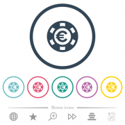 Euro casino chip flat color icons in round outlines. 6 bonus icons included. - Euro casino chip flat color icons in round outlines