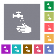 Hand washing flat icons on simple color square backgrounds - Hand washing square flat icons - Large thumbnail