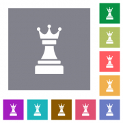 Black chess queen flat icons on simple color square backgrounds - Black chess queen square flat icons - Large thumbnail