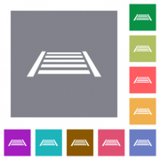 Railway flat icons on simple color square backgrounds - Railway square flat icons - Large thumbnail