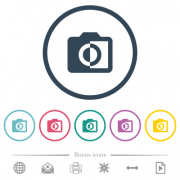 Monochrome photos flat color icons in round outlines. 6 bonus icons included.