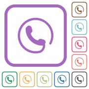 Hotline simple icons in color rounded square frames on white background