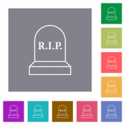 Tombstone with cross flat icons on simple color square backgrounds