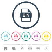 Bin file format flat color icons in round outlines. 6 bonus icons included.