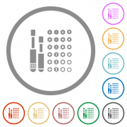 Set of screwdriver bits flat color icons in round outlines on white background
