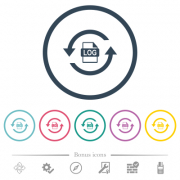 Log file rotation flat color icons in round outlines. 6 bonus icons included.