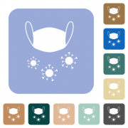 Medical mask and corona viruses white flat icons on color rounded square backgrounds - Medical mask and corona viruses rounded square flat icons - Large thumbnail