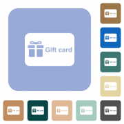 Gift card with text white flat icons on color rounded square backgrounds - Gift card with text rounded square flat icons - Large thumbnail