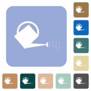 Watering can white flat icons on color rounded square backgrounds - Watering can rounded square flat icons - Large thumbnail
