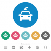 Electric car with flash flat white icons on round color backgrounds. 6 bonus icons included. - Electric car with flash flat round icons - Large thumbnail