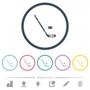 Hockey stick and puck flat color icons in round outlines. 6 bonus icons included. - Hockey stick and puck flat color icons in round outlines - Large thumbnail