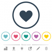 Heart card symbol flat color icons in round outlines. 6 bonus icons included. - Heart card symbol flat color icons in round outlines - Large thumbnail