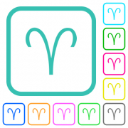Aries zodiac symbol vivid colored flat icons in curved borders on white background - Aries zodiac symbol vivid colored flat icons - Large thumbnail