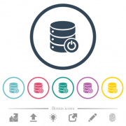 Database main switch flat color icons in round outlines. 6 bonus icons included. - Database main switch flat color icons in round outlines - Large thumbnail