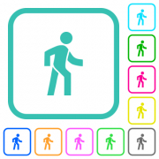 Man walking right vivid colored flat icons in curved borders on white background - Man walking right vivid colored flat icons - Large thumbnail