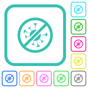No covid vivid colored flat icons in curved borders on white background - No covid vivid colored flat icons - Large thumbnail