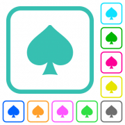 Spades card symbol vivid colored flat icons in curved borders on white background - Spades card symbol vivid colored flat icons - Large thumbnail