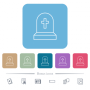 Tombstone with cross white flat icons on color rounded square backgrounds. 6 bonus icons included