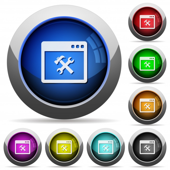 Application tools icons in round glossy buttons with steel frames - Free image