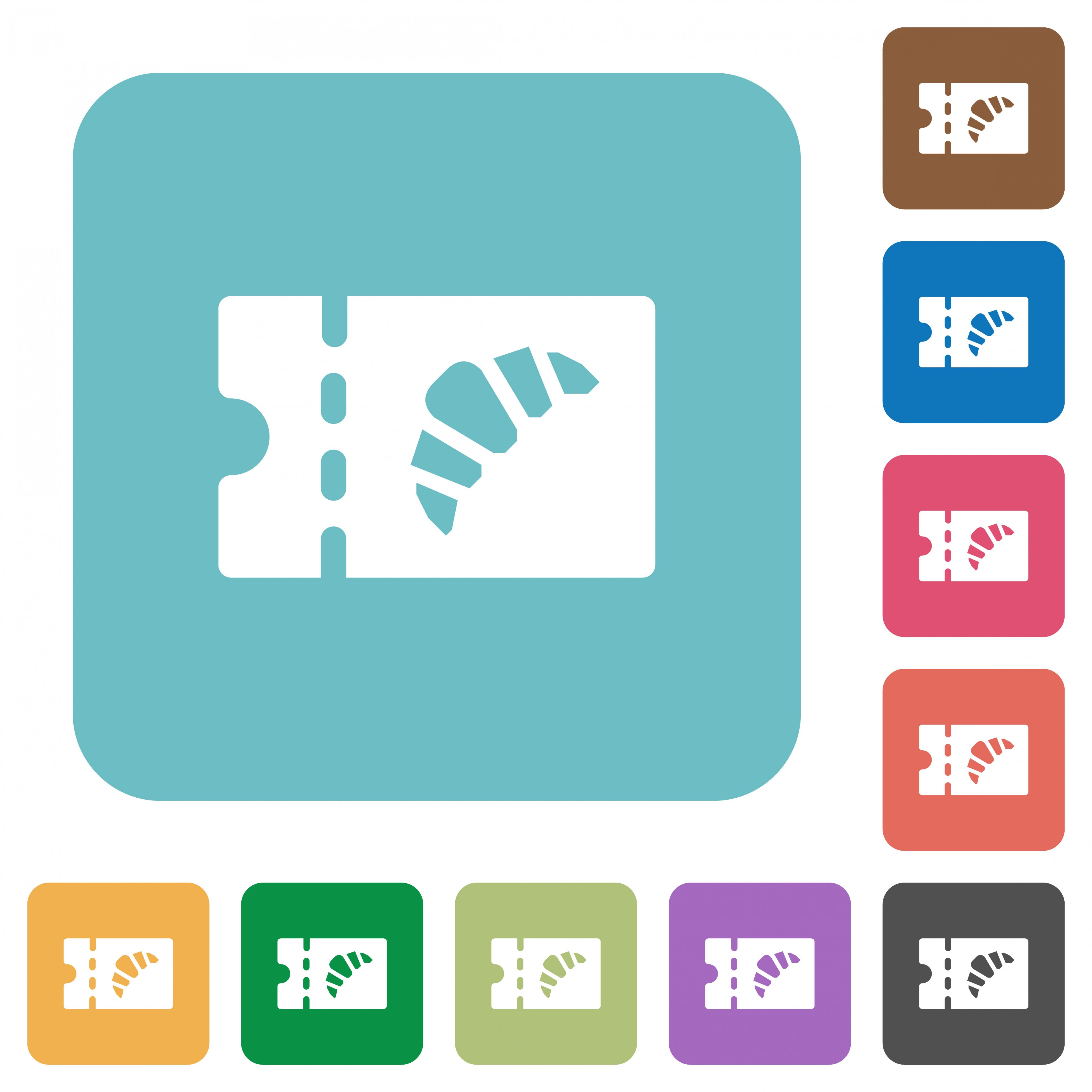 Bakery discount coupon white flat icons on color rounded square backgrounds - Free image