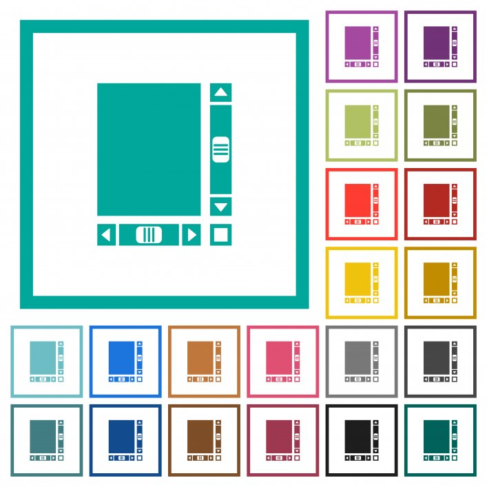 Blank document with scroll bars flat color icons with quadrant frames on white background - Free image
