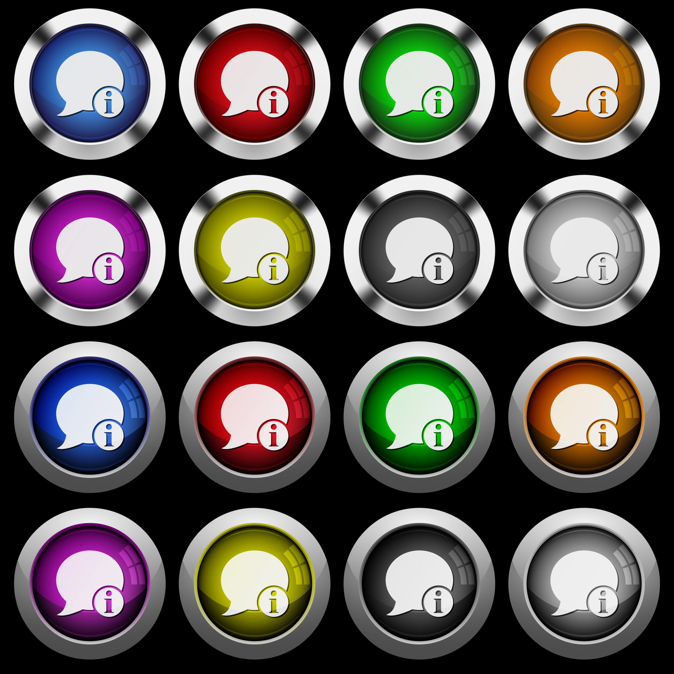 Blog comment info white icons in round glossy buttons with steel frames on black background. The buttons are in two different styles and eight colors. - Free image