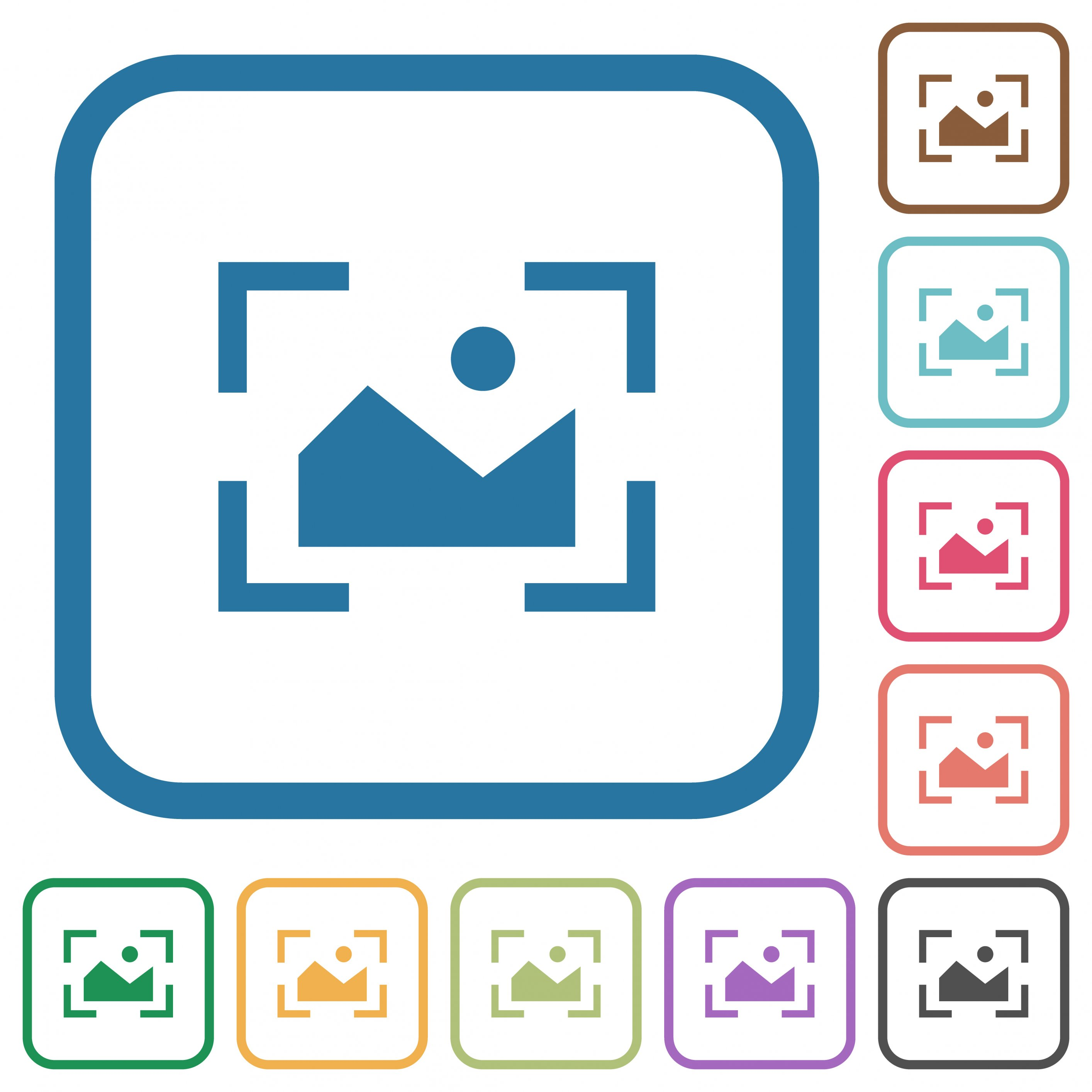 Camera landscape mode simple icons in color rounded square frames on white background - Free image