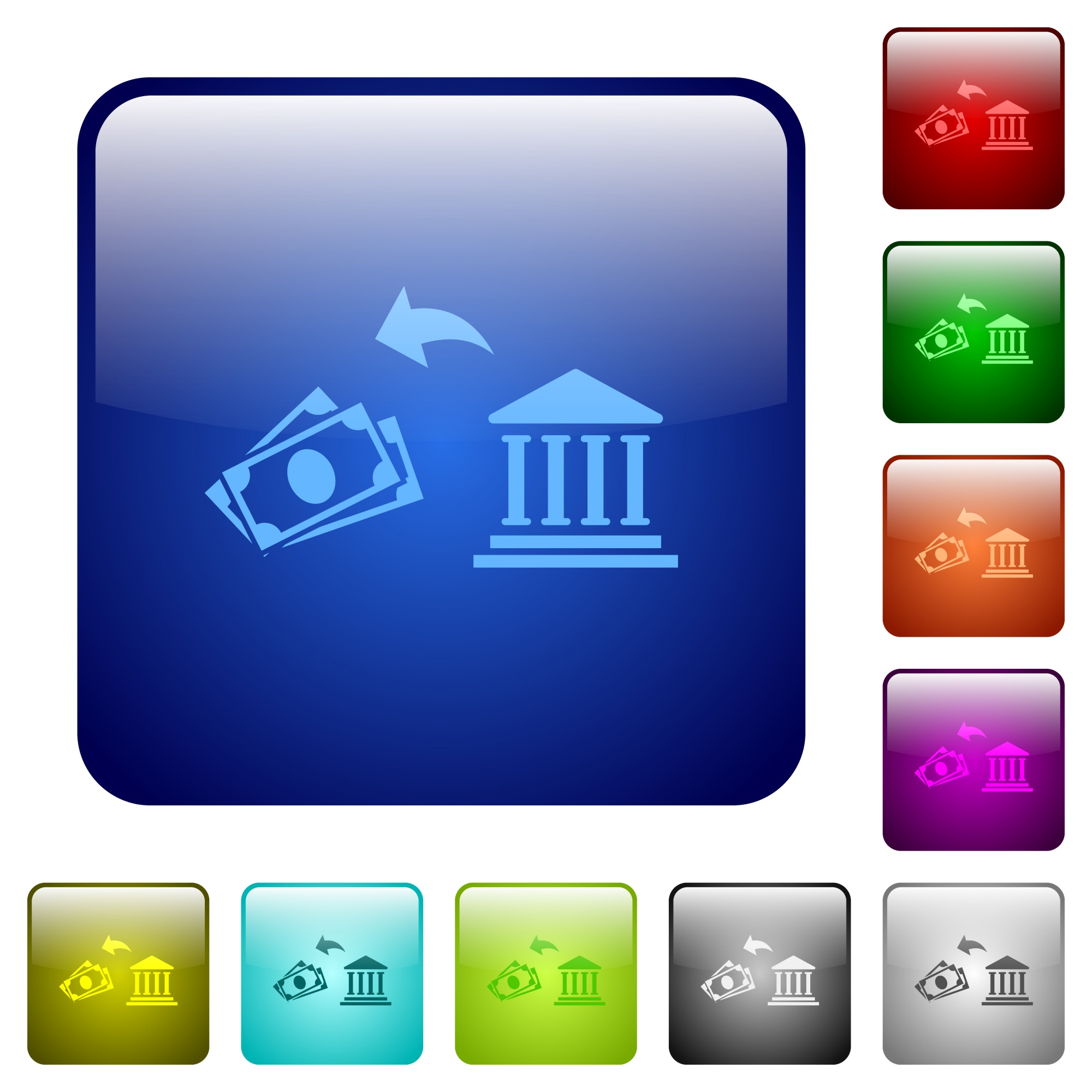 Cash withdrawal from bank icons in rounded square color glossy button set - Free image