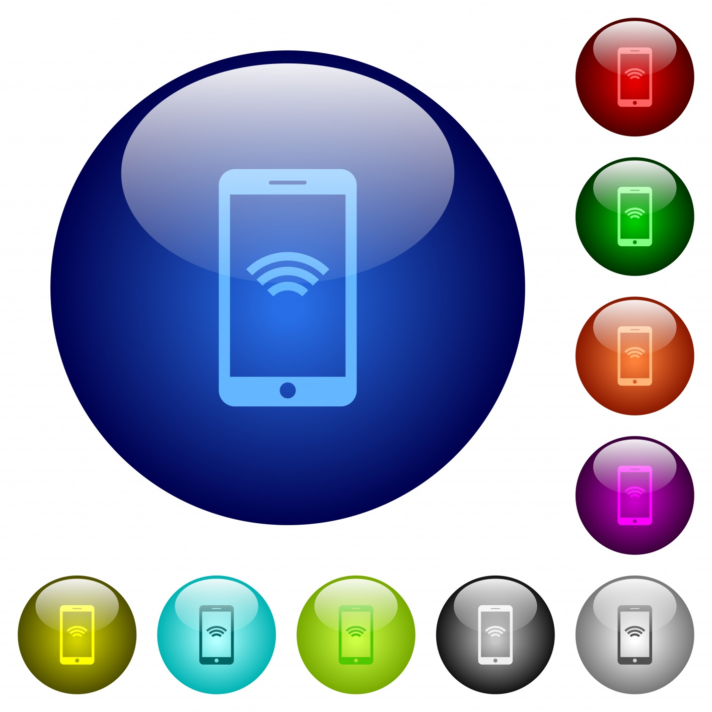 Cellphone wireless network icons on round color glass buttons - Free image