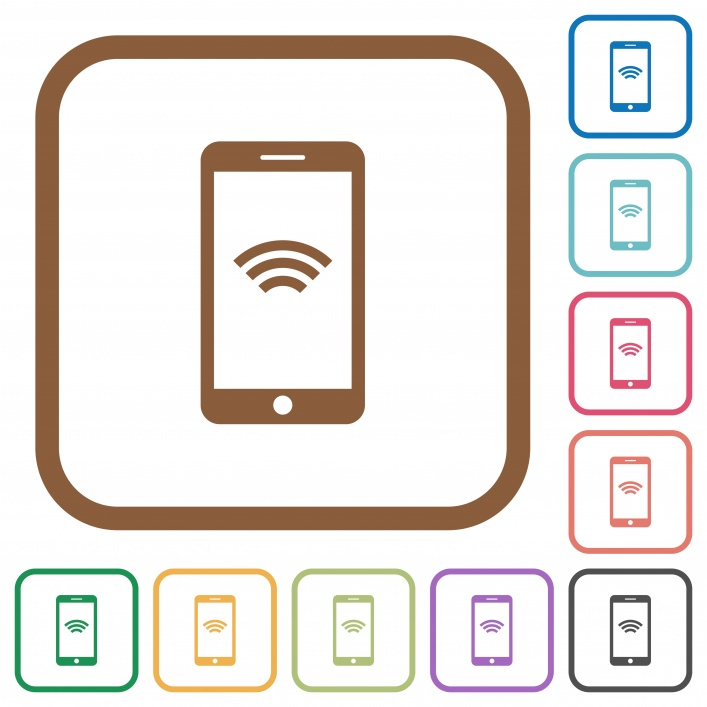 Cellphone wireless network symbol simple icons in color rounded square frames on white background - Free image
