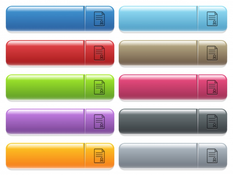 Certificate document engraved style icons on long, rectangular, glossy color menu buttons. Available copyspaces for menu captions. - Free image