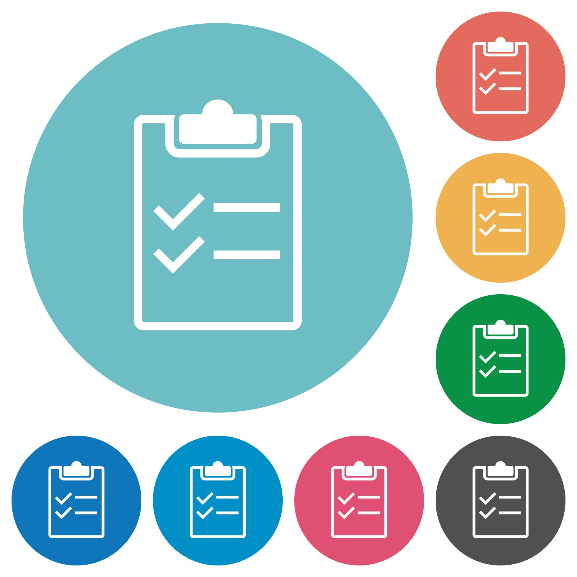 Checklist white flat icons on color rounded square backgrounds - Free image