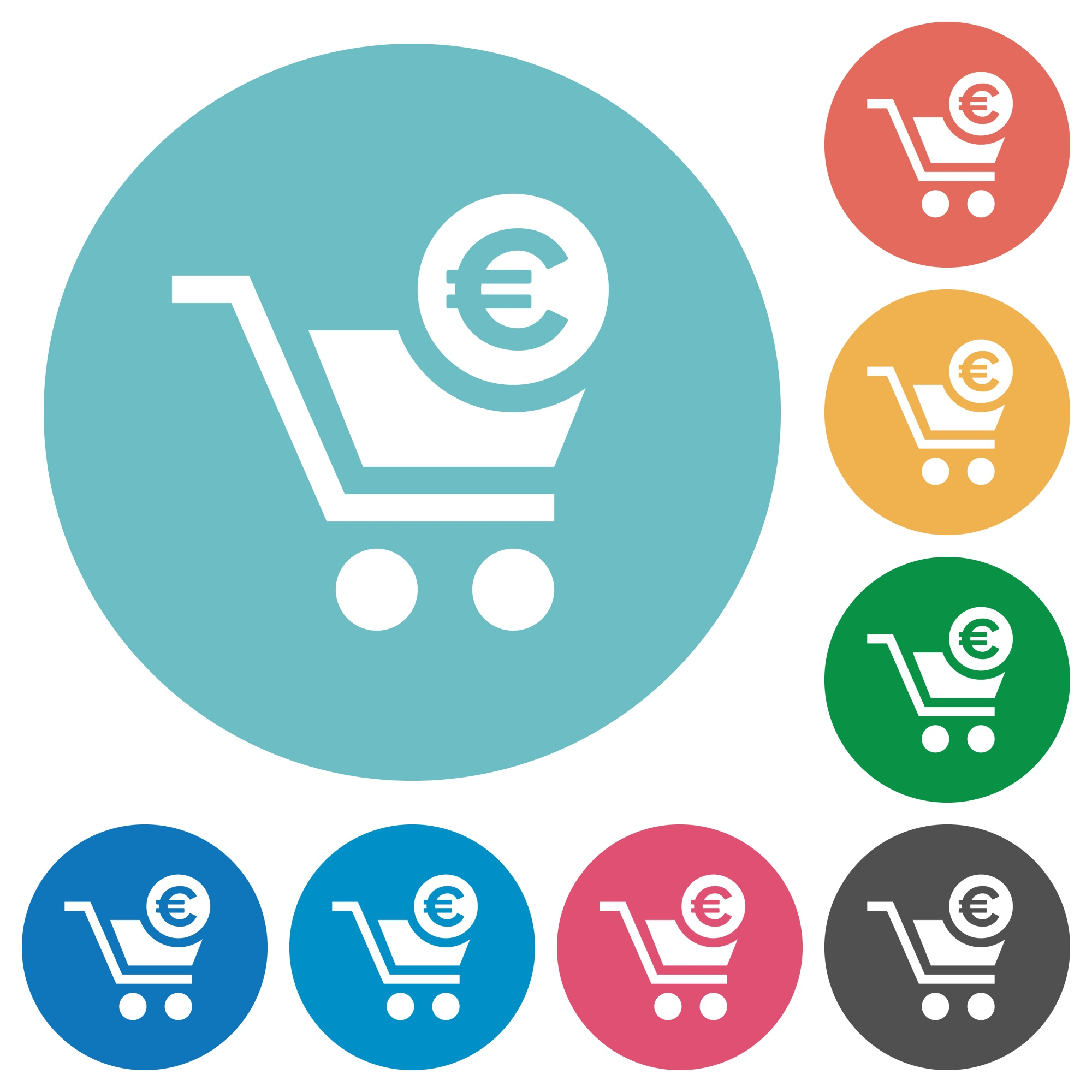 Checkout with Euro cart flat white icons on round color backgrounds - Free image
