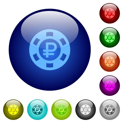 Set of color ruble casino chip glass web buttons. - Free image