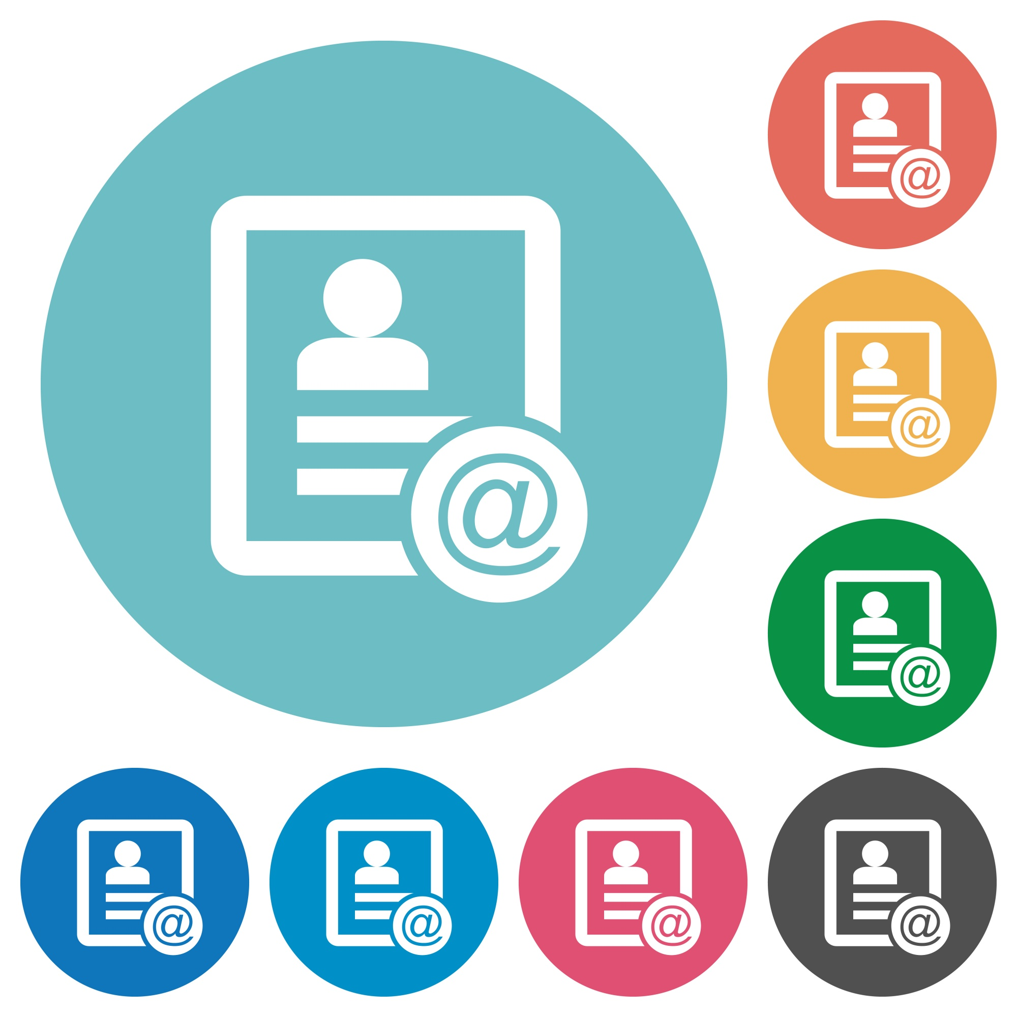 Contact email flat white icons on round color backgrounds - Free image