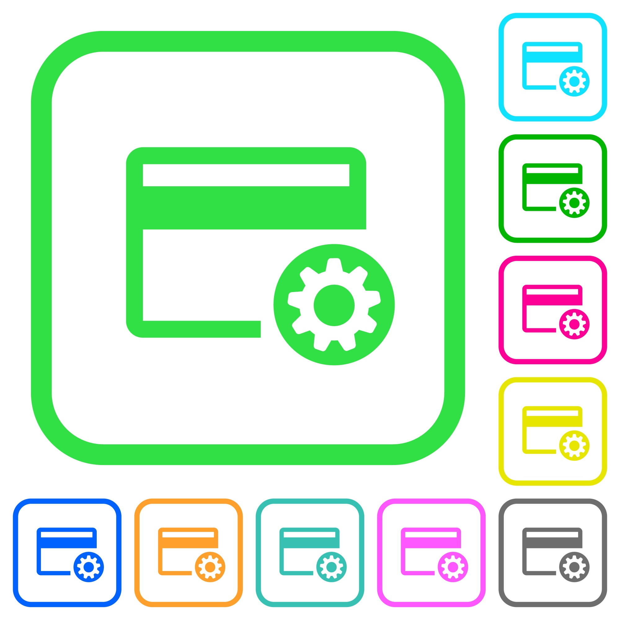 Credit card settings vivid colored flat icons in curved borders on white background - Free image