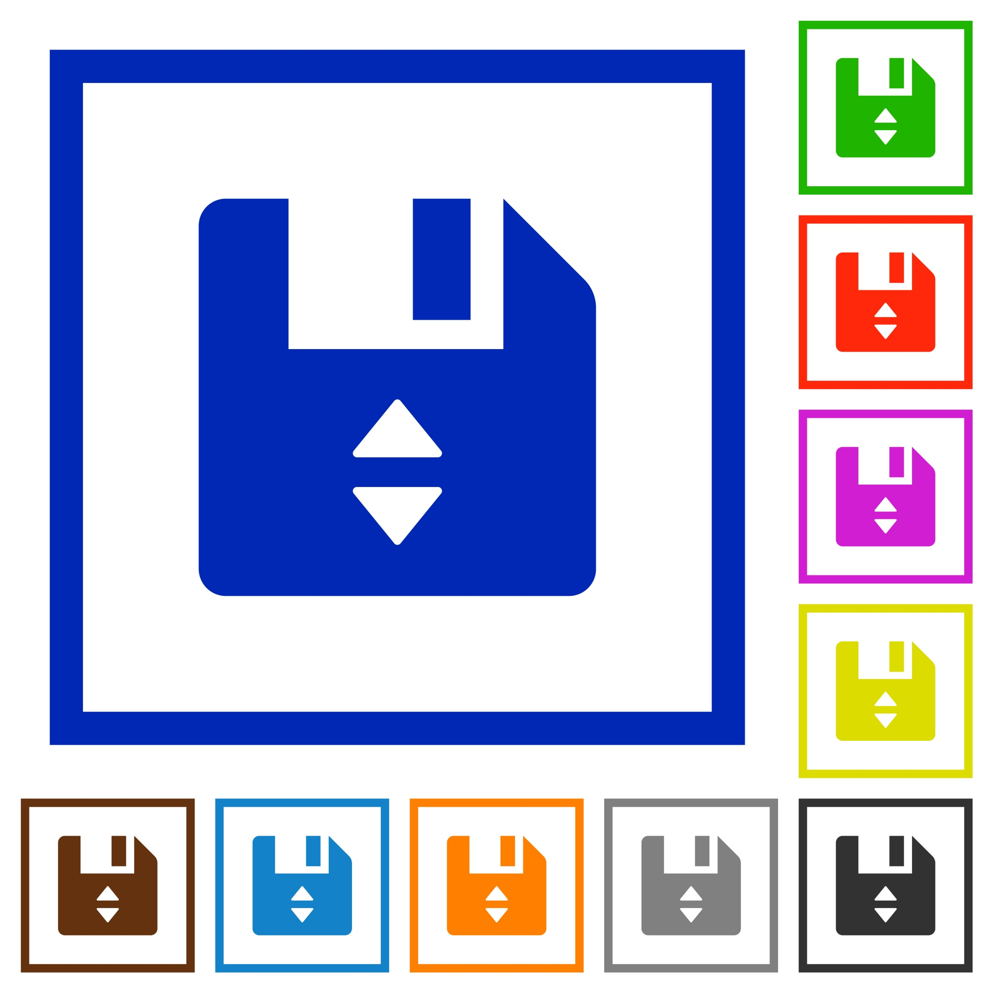 File position flat color icons in square frames on white background - Free image
