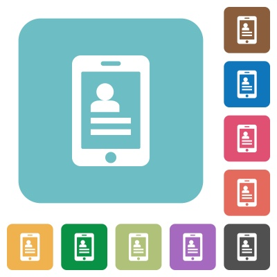 Flat mobile contacts icons on rounded square color backgrounds. - Free image