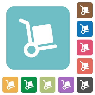 Flat parcel delivery icons on rounded square color backgrounds. - Free image