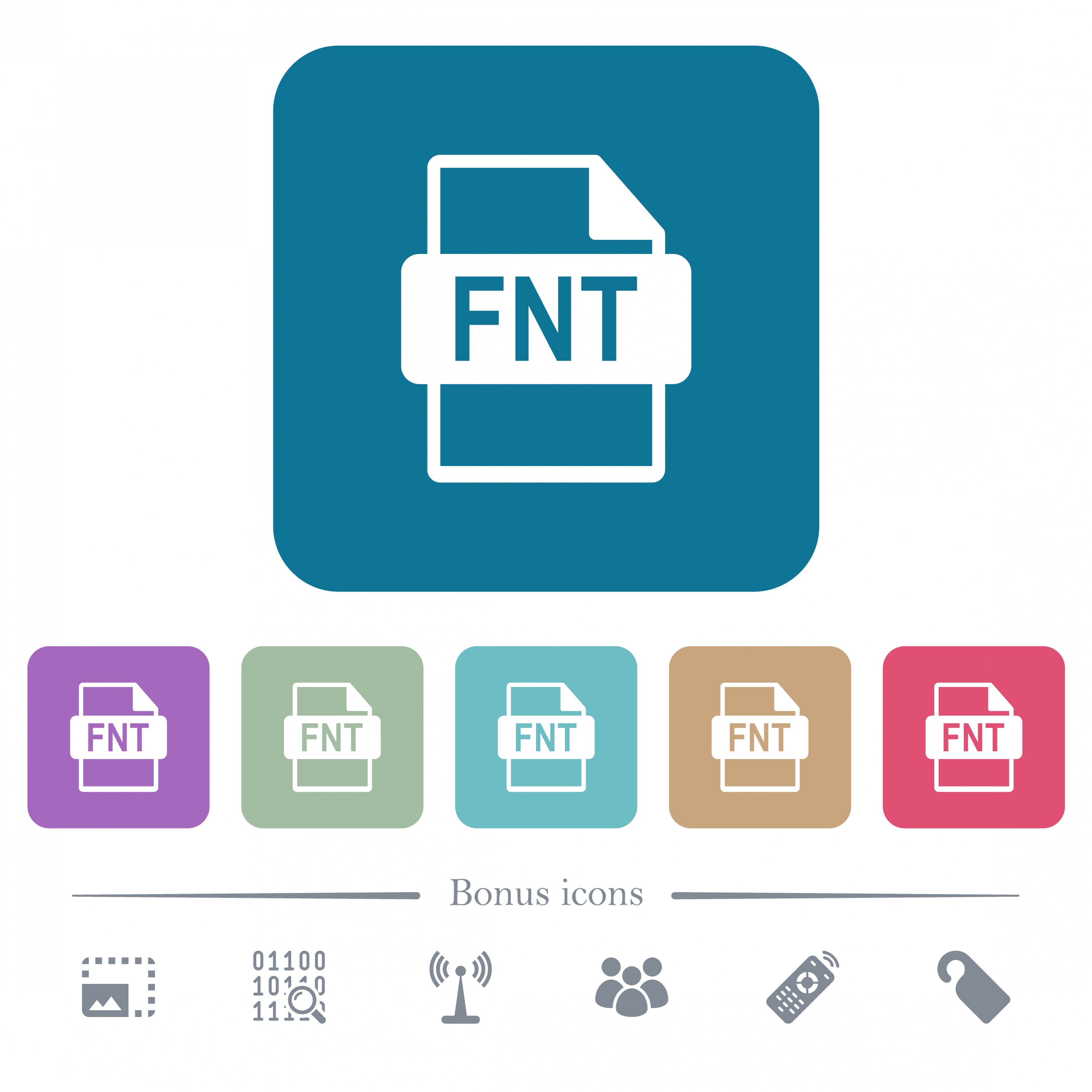 FNT file format white flat icons on color rounded square backgrounds. 6 bonus icons included - Free image