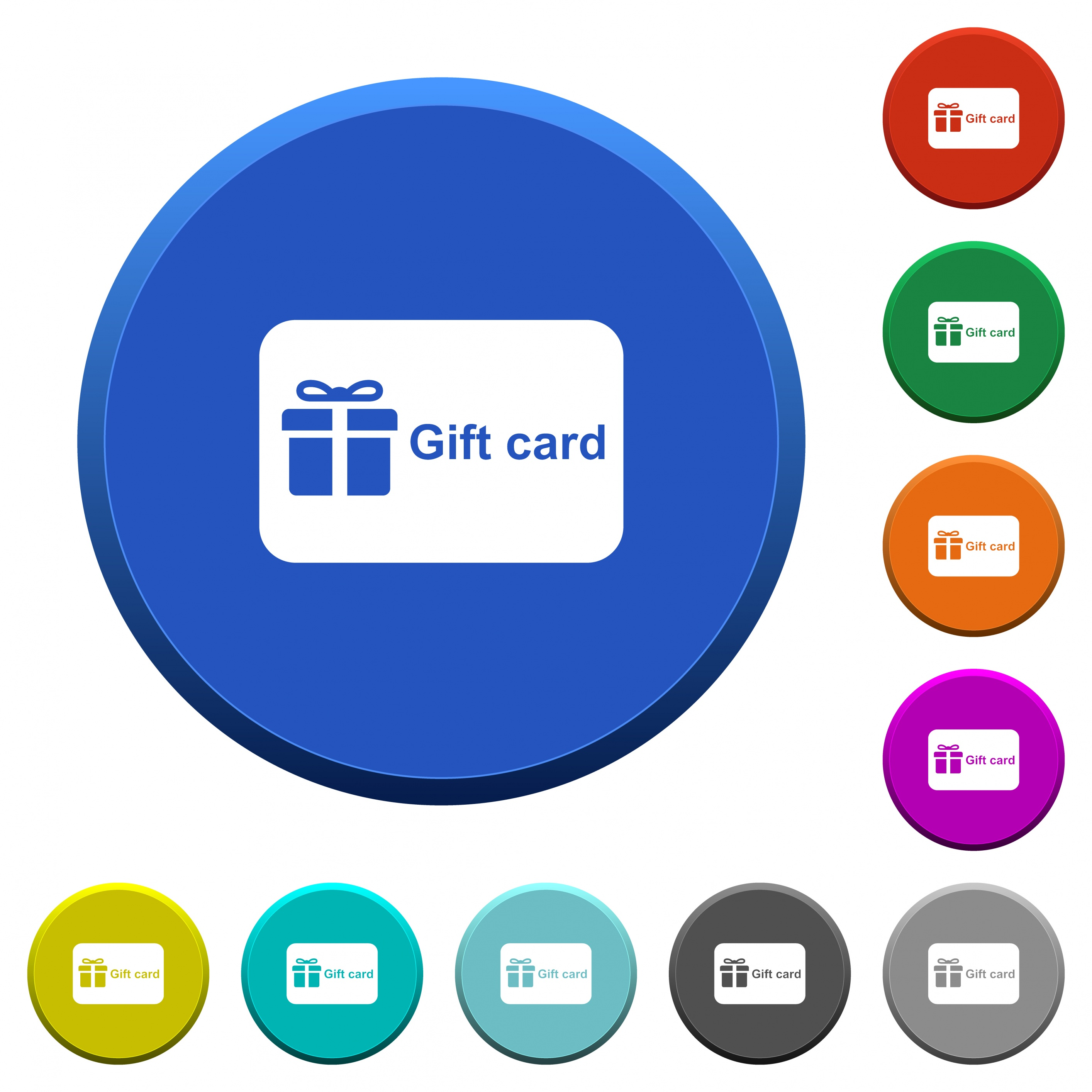 Gift card with text round color beveled buttons with smooth surfaces and flat white icons - Free image