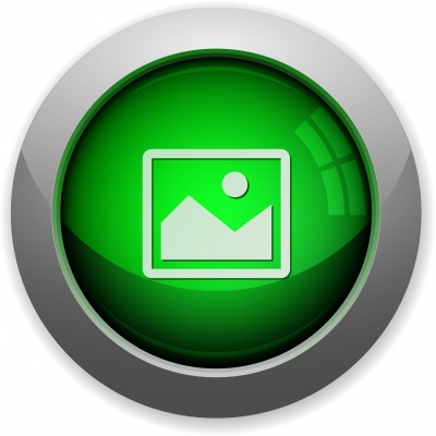 Green glossy steel image button. Arranged layer structure. - Free image