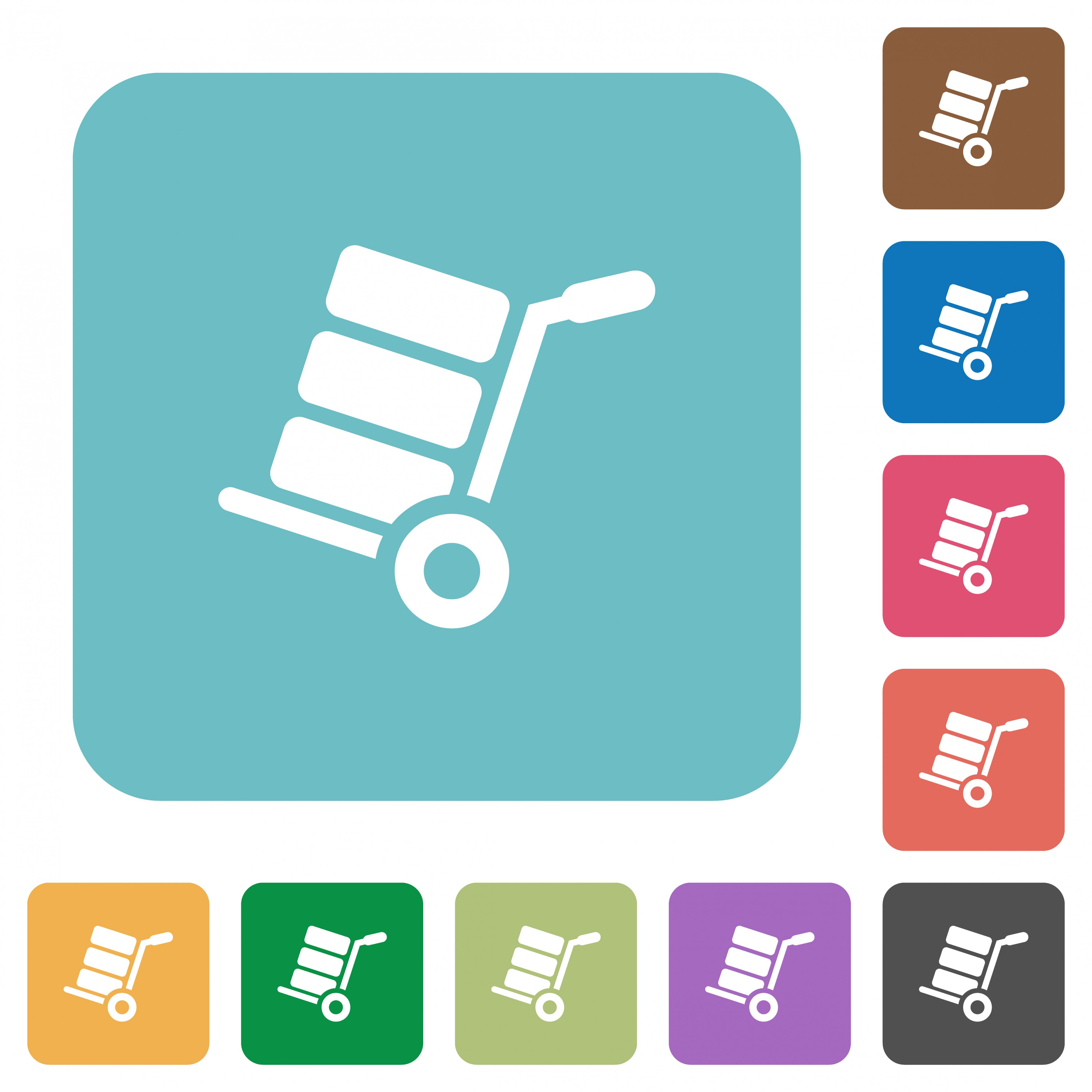 Hand truck with boxes white flat icons on color rounded square backgrounds - Free image