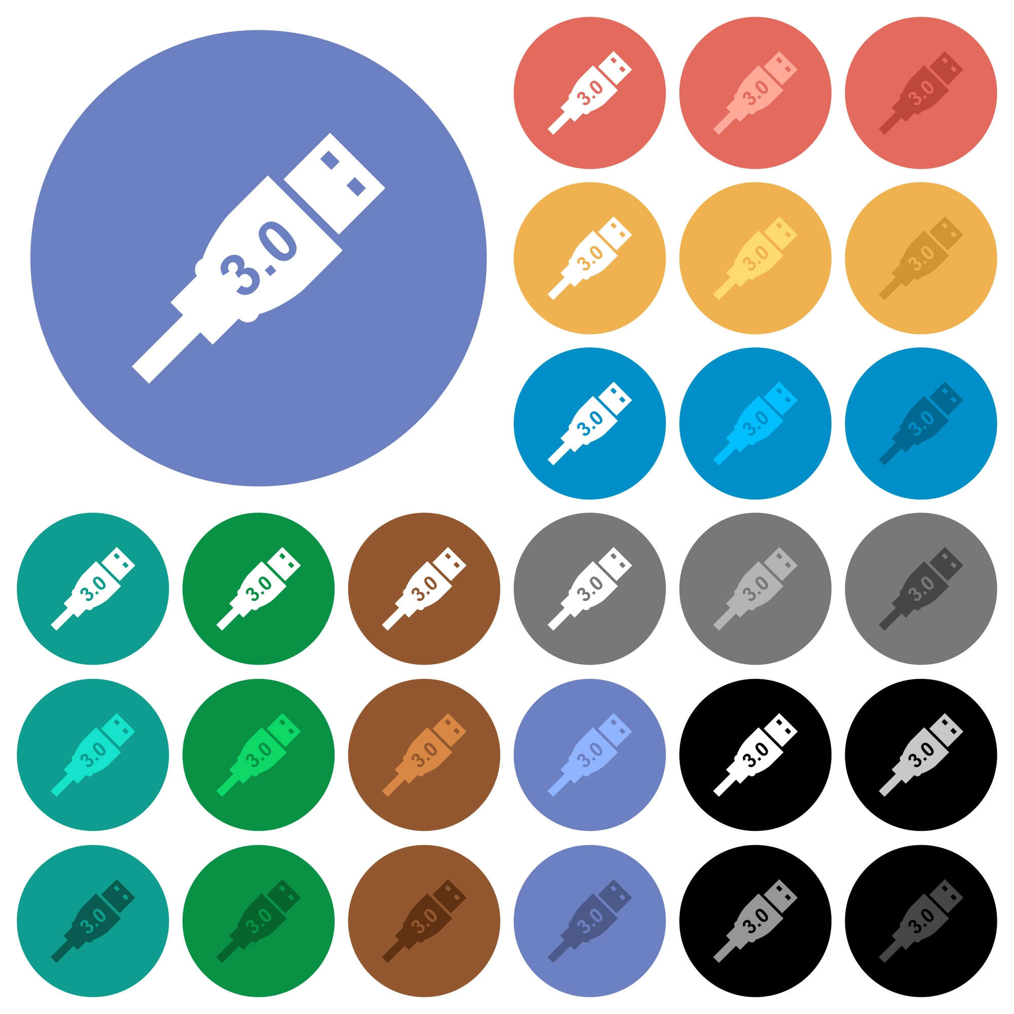 High speed USB multi colored flat icons on round backgrounds. Included white, light and dark icon variations for hover and active status effects, and bonus shades on black backgounds. - Free image