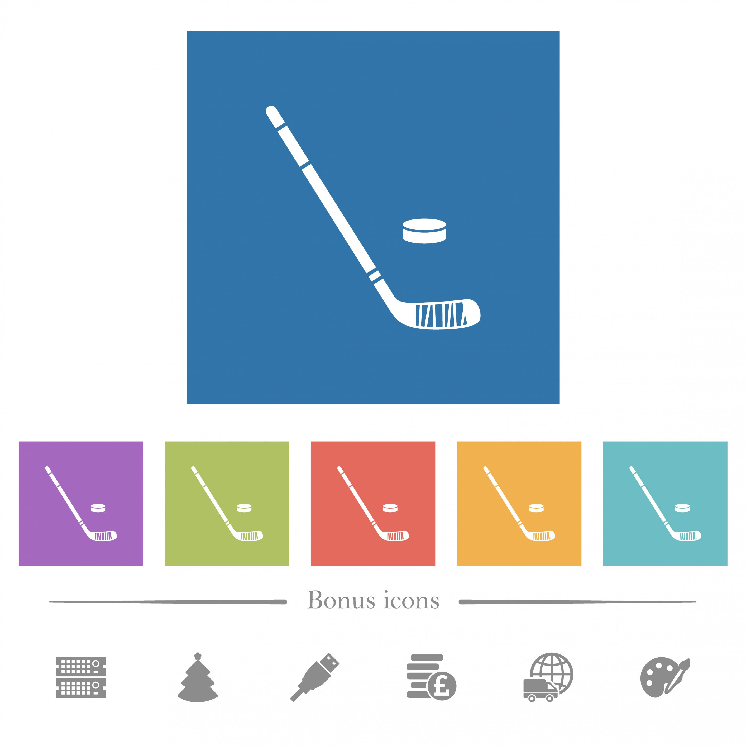 Hockey stick and puck flat white icons in square backgrounds. 6 bonus icons included. - Free image