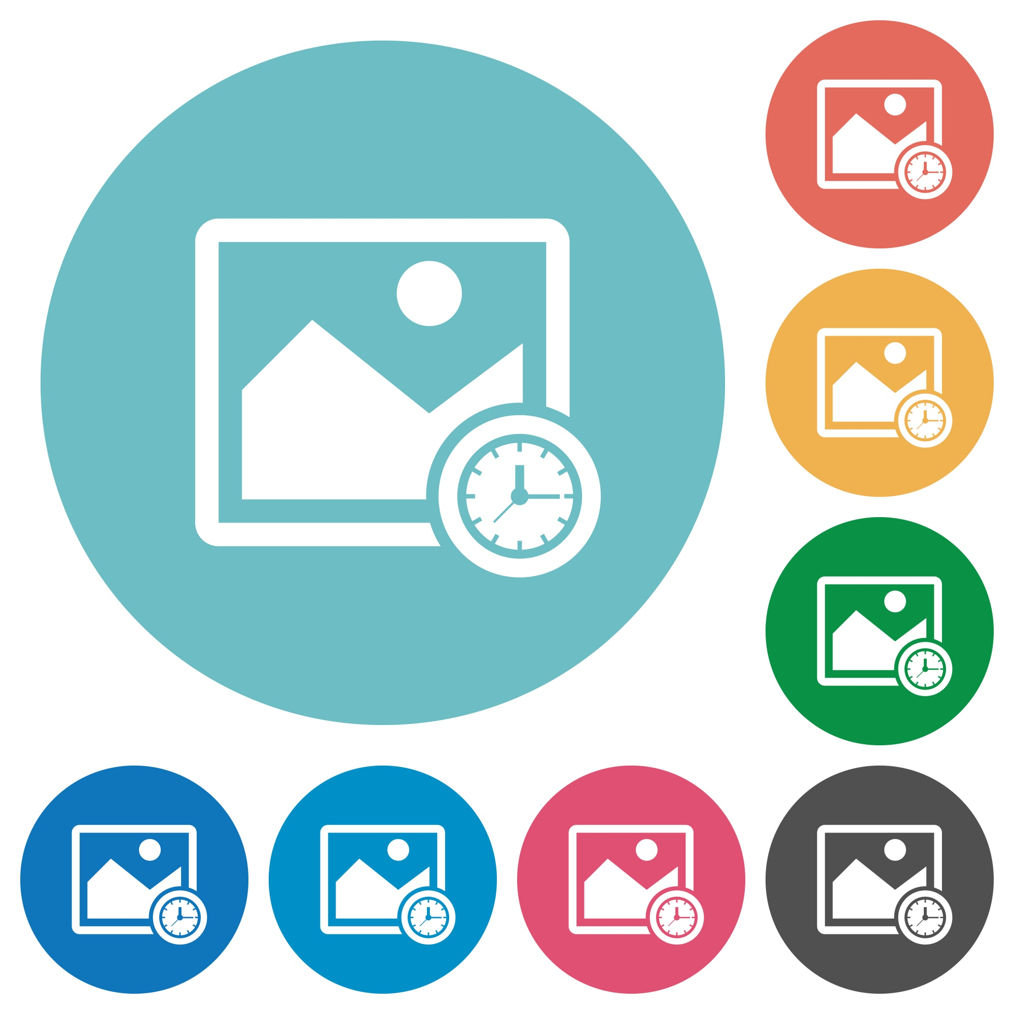 Image time flat white icons on round color backgrounds - Free image